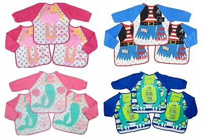 Baby Bibs with Sleeves Pack of Three 6m-18m approx Cotton PEVA Backing