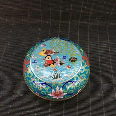 "4"" China old antique bronze Cloisonne wire inlay Mandarin Duck  Powder box"