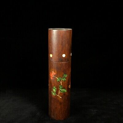 """12"""" Chinese antique huanghuali Wood Inlaid tin handmade flowers Tea Caddy"""
