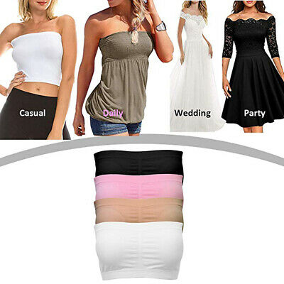 566fe01586a Double Layers Plus Size Strapless Bra Bandeau Tube Removable Padded Top  Stretchy