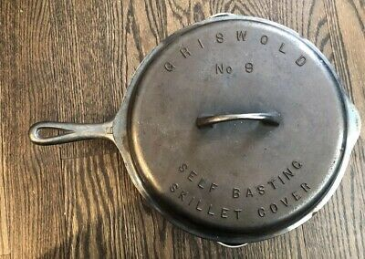 GRISWOLD #9 CAST IRON SKILLET 710 S w/ 1925 SELF BASTING COVER Chrome?