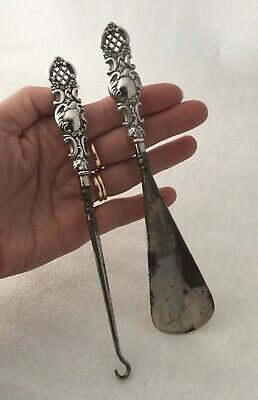 Antique Solid Silver Handle Repousse Pierced Shoe Horn And Boot Hook.