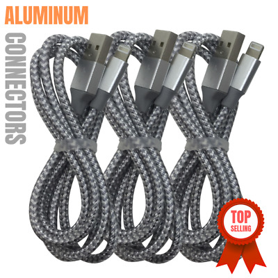 3 Pack 2M Lightning Cable Heavy Duty iPhone X 8 7 6 USB Charger Charging Cord