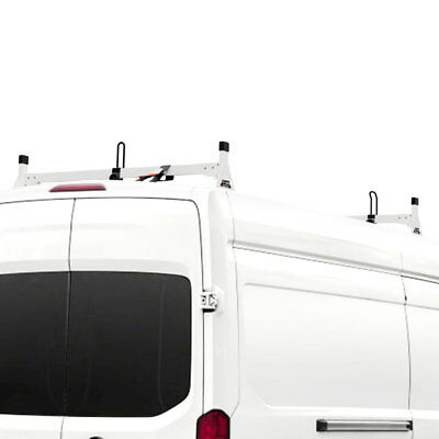 White Vantech H1 2 Bar Steel Ladder Roof Rack, Fits: Ford Transit Cargo 2015-On