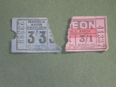 Vintage Tickets - 2 x Marble Arch Pavillion/Odeon, London - Half Tickets