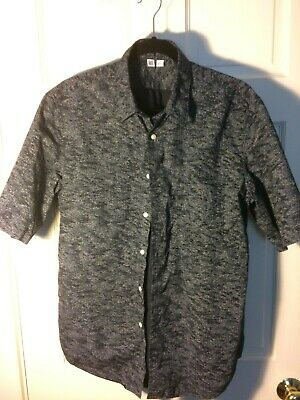 94d4814f 2017 uniqlo u-lemaire collab, broadcloth printed shortsleeve, black, size M