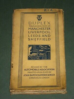 AA Duplex Thoroughway Maps of Manchester, Liverpool, Leeds and Sheffield, 1938