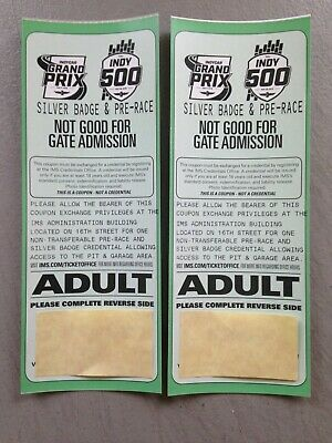 ** ENDS AT NOON 5/23!!!** TWO(2) 2019 INDY 500 SILVER Badge/Pre-Race Credentials