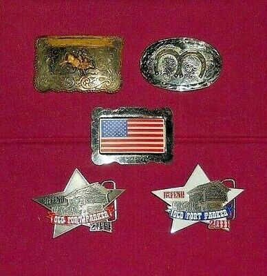 Vintage Belt Buckles Lot Of 5 Buckles Rodeo, Usa, Horseshoe, Old Fort Parker