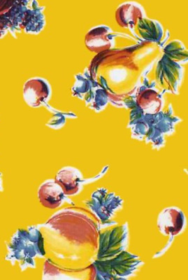 Oilcloth Fabric Pears & Apples Yellow Pattern Sold in Yard or Bolt