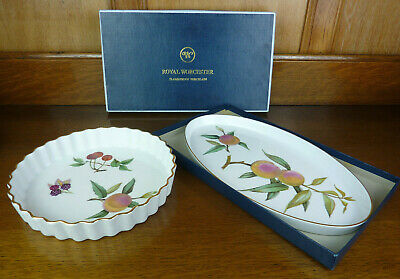 Royal Worcester Evesham Gold Fluted Flan Dish & Boxed Shallow Oval Serving Dish