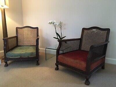 Pair Of Vintage French Antique Bergere Chairs Ready For Restoration