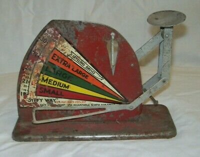 Rustic Vintage Tin Poultry Egg Scale Brower. Co. JIFFY WAY, Quincy, IL