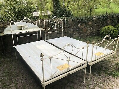 Pair Of Antique Single Metal Wrought Iron Bed Frames And Bases 3ft Wide Standard