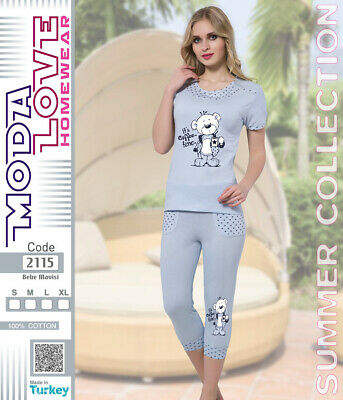 fc9b5fb3b8 DAMEN PYJAMA CAPRI / Sommer Collection / Schönes Hasen Motiv / 100 ...