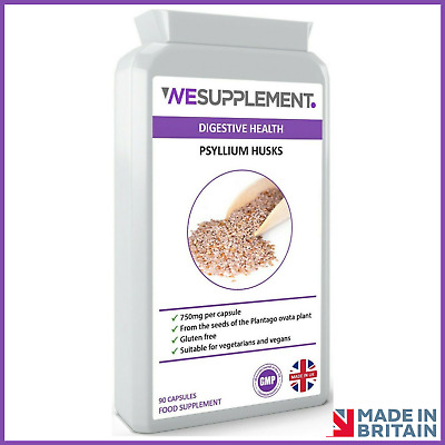 Psyllium Husk 750mg 90 Capsules, Dietary Fibre, Colon Cleansing, IBS Relief