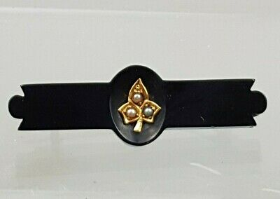 Victorian Mourning Brooch Jet Pearl