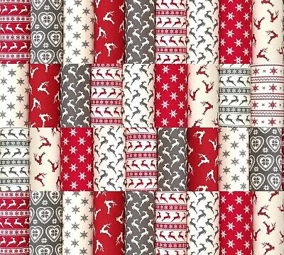 """CHRISTMAS PATCHWORK QUILTING FABRIC SQUARES NORDIC SCANDI 100% COTTON 50 x 4"""""""