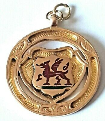 Antique 9Ct Gold Welsh Dragon 5 Grams Enamelled Watch Chain Medal Fob H/M 1933