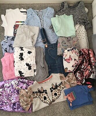 Large Bundle Girls Summer Clothes 7-8 Years Job Lot H&M Next 17 Items