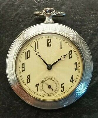 Exquisite Art Deco Sterling Silver Open Face Pocket Watch , 1928-29. Working.