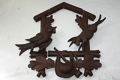 Vintage Large Carved Black Forest Cuckoo Clock Wood Case Topper Bird And Rabbit