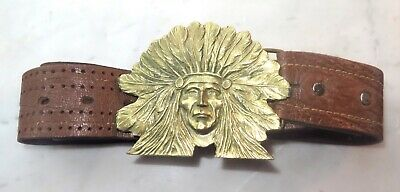 Vintage Lg Brass Native American Indian Chief Buckle Hand-Tooled Leather Belt