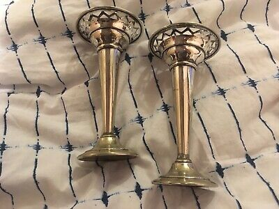 "Vintage - Silver Plated - Pair Of Posy Vases - 5.5"" Tall - Floral Pattern"