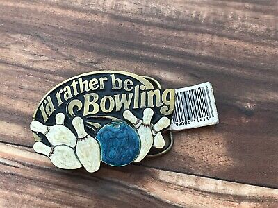 American Buckle Co I'd Rather Be Bowling Brass Enamel Vintage Belt Buckle Kmart