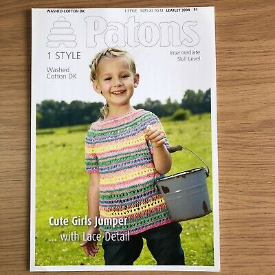 Patons Washed Cotton DK Childs Knitting Pattern 3994 - Jumper