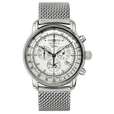 GRAF Zeppelin Men's Chronograph and Alarm Stainless Steel Silver Tone Watch