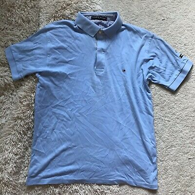 Tommy Hilfiger Mens Baby Blue Polo Shirt Size Large