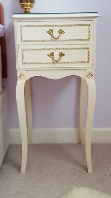 'FRENCH LOUIS XV' style 2 x bedside cabinets mouldings, glass top - to collect.