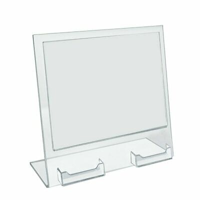 "Azar Displays 252075 11"" W x 8.5"" H Slanted Sign Holder with Two Attached Busine"