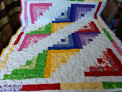Handmade Pieced Scrappy Log Cabin Girl Baby Crib Lap Quilt Throw Blanket