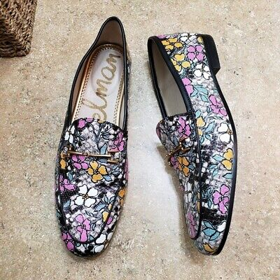 9cf22a44a Sam Edelman Loraine Womens Black Pink Floral Snake Print Loafer Shoes Size  9.5