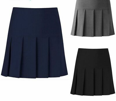 Womens Girls Pleated School Skirt Drop Waist Grey Black Navy Ages 5-16 Size 8-18