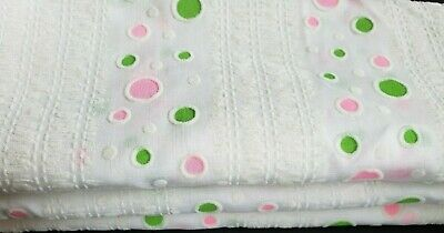 Vintage Cute Flocked Fabric Pink Green Dots on White 3 pc Scraps Dolls Kids Baby