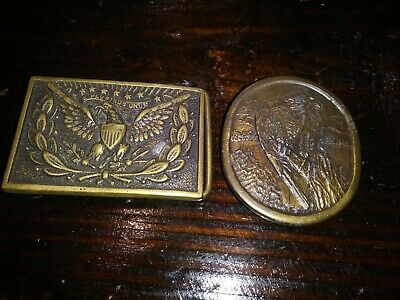 2 Vintage Brass Belt Buckles Eagle & Falcon