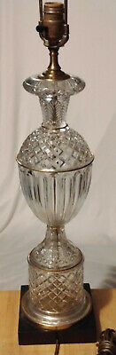 """Vintage Hollywood Regency Crystal Table Lamp Marble Base & Brass Accents 36.5"""""""