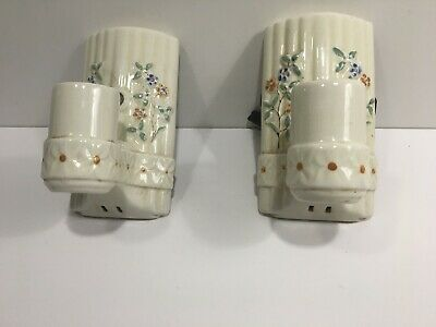 Vintage Pair Ceramic Porcelain Floral Light Fixtures  Wall Sconces