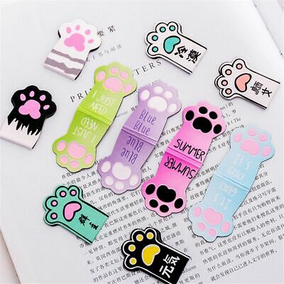 Cat Paw Magnetic Bookmarks Labels Paper Page Clips School Office Supplies