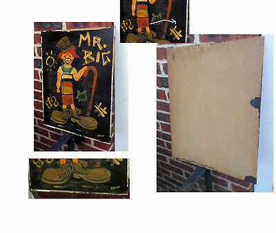 1950'S Oil On Board-Child Clown With Big Shoes-Signed Virgo-Mr Big