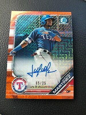 Julio Pablo Martinez - 2019 Bowman Chrome Mojo Orange Refractor Auto /25 Rangers