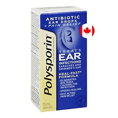 Polysporin Antibiotic Ear Drops-Pain Relief Treats Ear Infections 15 ml. CANADA