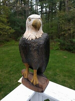 Hand Carved Painted Large Wooden Bald Eagle Patriotic American Folk Art