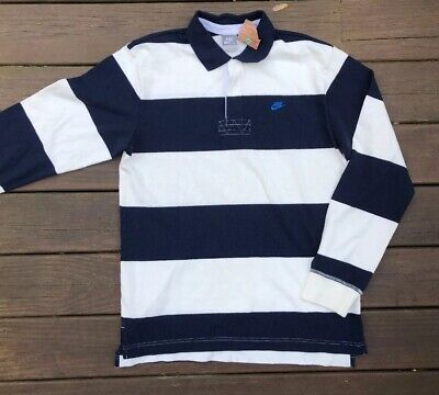 34f38520 NOS NWT Vintage Nike Long Sleeve Striped Polo Shirt Rugby Men's Large