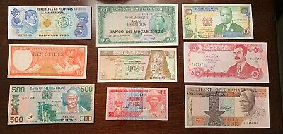 Lot of 9 UNC World Paper Money Foreign Banknotes **Large Notes**