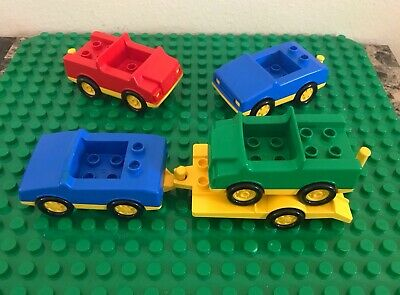LEGO DUPLO 5pc Vintage Car Trailer Tow Bed Vehicle Lot Red Blue Yellow Green