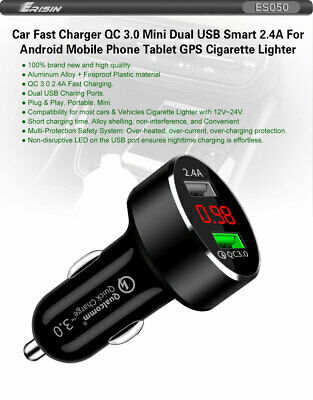 QC 3.0 Quick Car Charger Travel Dual USB 2.4A Mini For iPhone Android Phone LED